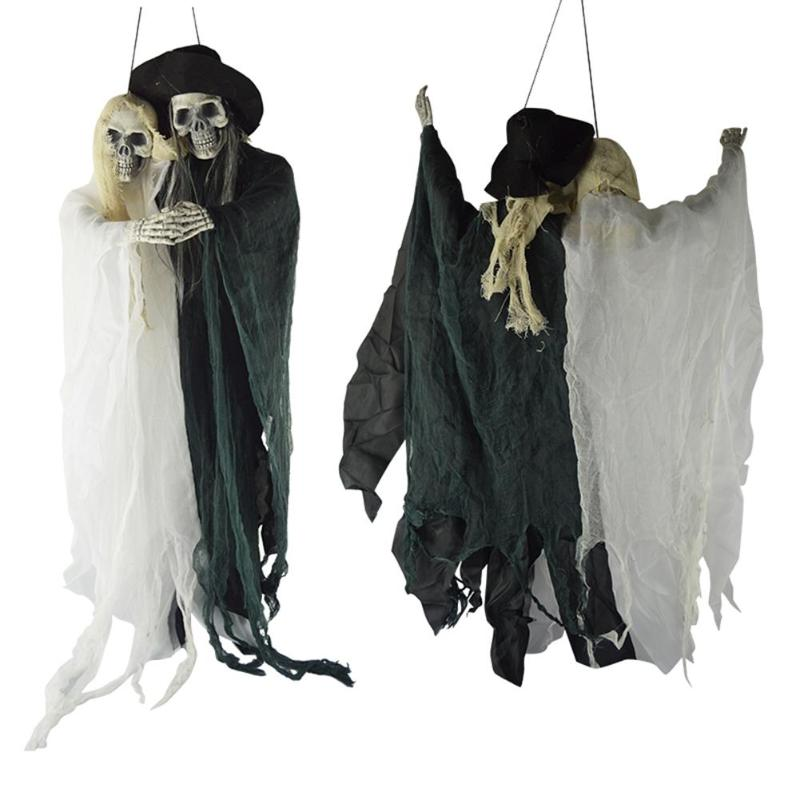 Shining Skull Hanging Ghost Scary Skeleton Couple Ghost Halloween Door Hang Decoration Holiday Festive Home Party Supplies