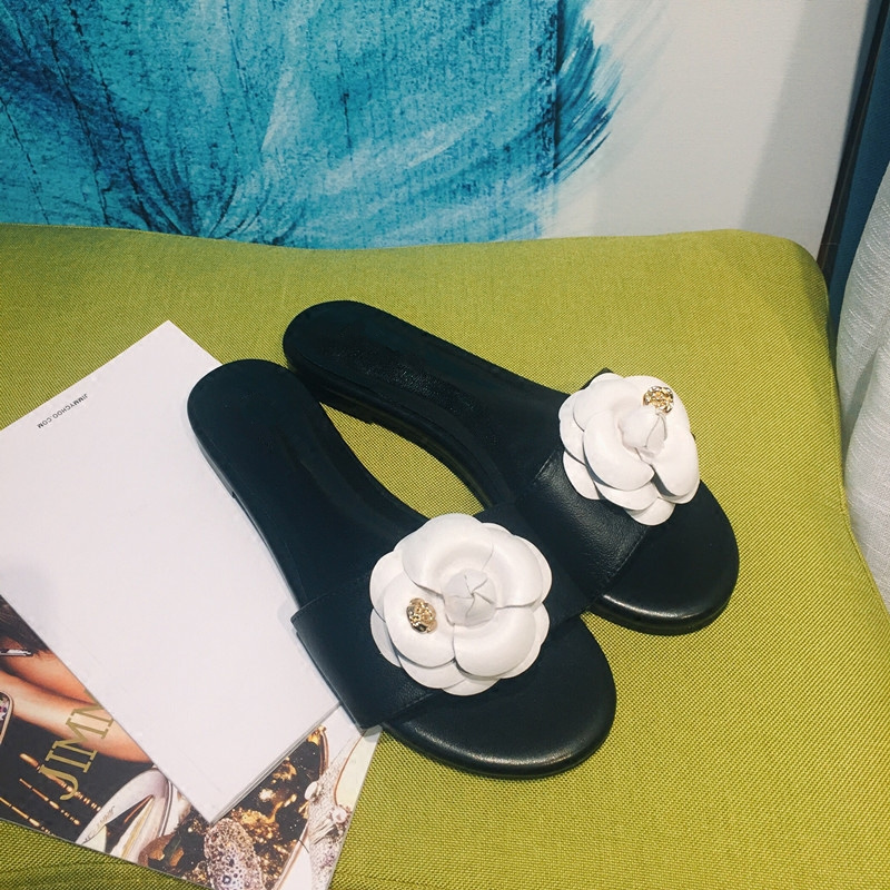 Piste Vedettes As Pic Diapositives Fleur Femme Sortie Métal Bout De Chaude Plage Chic Chaussures as Décoration Pic À Femmes Été Marque Appartements Pantoufle Ouvert wApqU1Tp