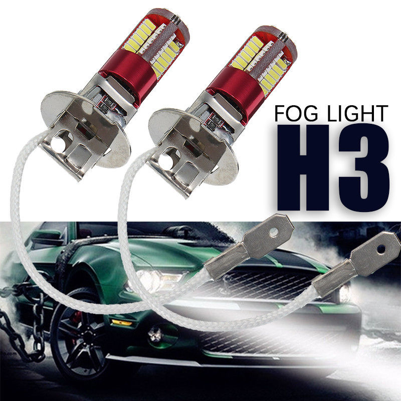 2x H3 3014 57-smd Led Car Fog Light Lamp Bulb 6000k Bright White 12v 10w