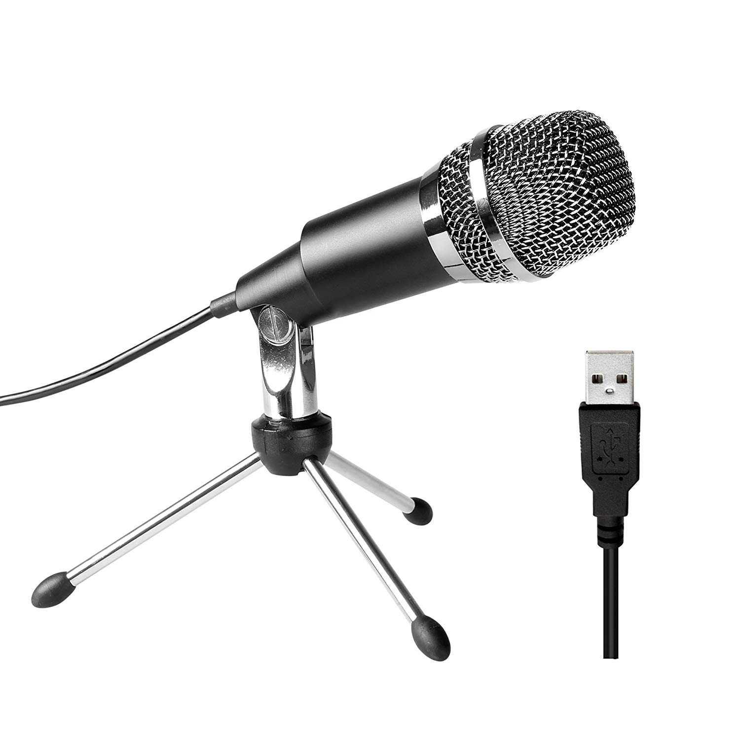USB Microphone, Plug &Play Home Studio USB Condenser Microphone for Skype, Recordings for YouTube, Google Voice Search, Games( image