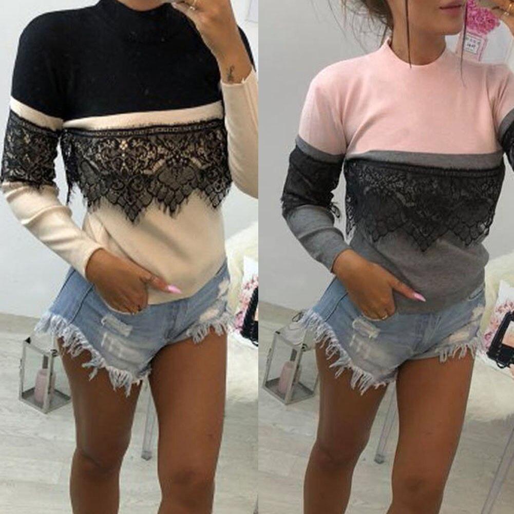 Women Ladies Autumn Long Sleeve Lace Casual Sweater Ladies Turtleneck Slim Tops Clothes Winter Autumn