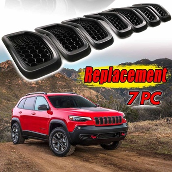 ABS 7Pcs Grey Rings + Glossy Black grilles Front Grille Grill Inserts Grey Rings Covers For Jeep Cherokee 2014-2018