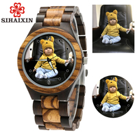 SIHAIXIN Personal Customize Men Watch Family Birthday Gift Wood Bamboo Printing Engraving Picture Leather Unique Quartz Watches