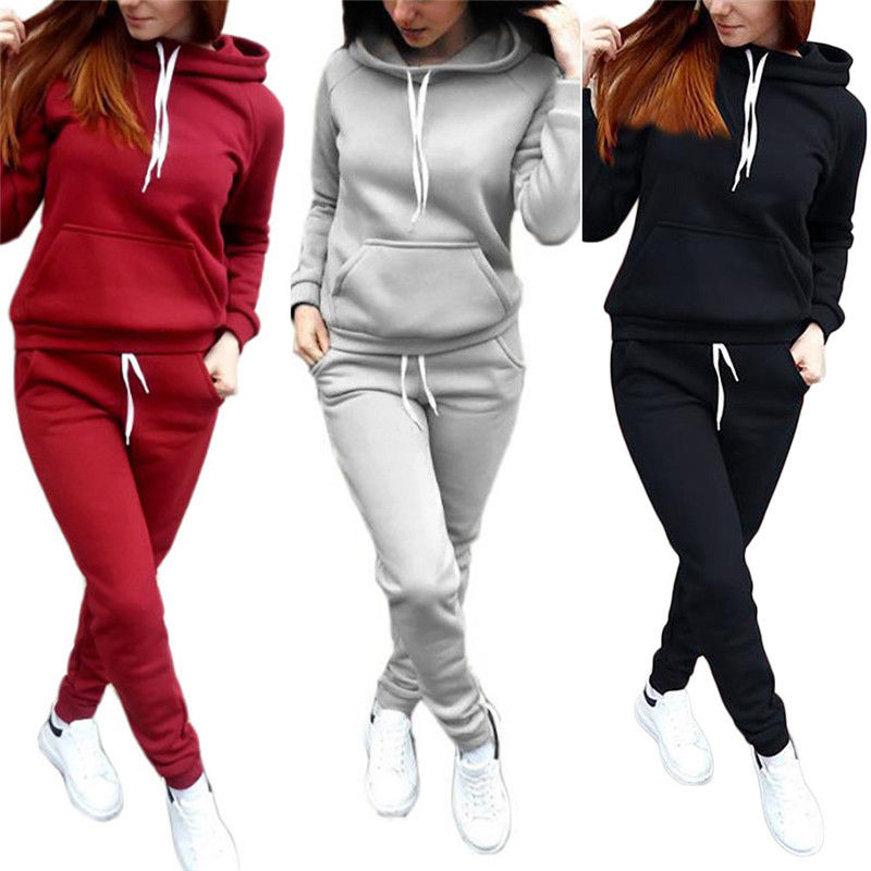 Women Hooded Sweatshirt Tracksuit Fashion Solid 2PCS Pants