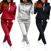 2PCS Fashion Women Hooded Hoodies Pants Solid Tracksuit Swea