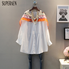 Superaen Women Shirt Korean-Style Tops Casual Blouses Spring Long-Sleeved Fashion Summer