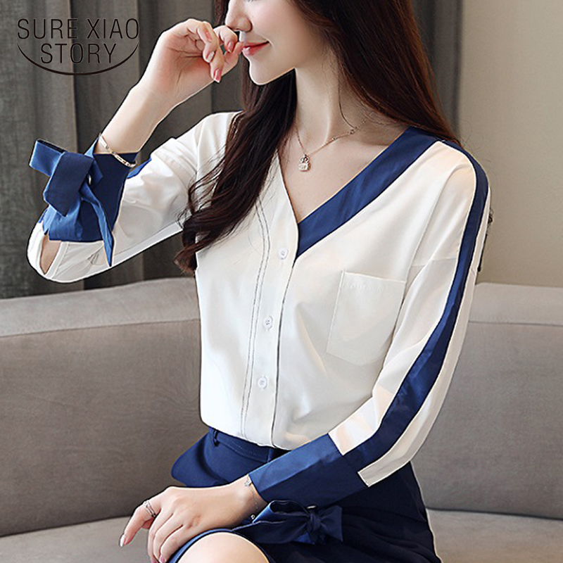 Fashion Women   Blouses     Shirts   Chiffon New 2018 Autumn Casual Long Sleeve White Tops V-neck Female Chiffon Clothing Blusas 0855 30