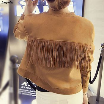 Chic Bomber Suede Fringed Jacket Slim O-Neck Faux Fur Coat Women Long-sleeved High Waist Single-breasted Pilot Splice Cardigan faux fur double breasted coat