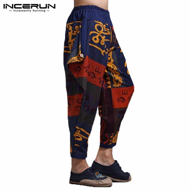 INCERUN 2019 мужские шаровары принт в этническом стиле с эластичной резинкой на талии повседневные штаны хлопковые льняные джоггеры хип-хоп свободные брюки мужские S-5XL
