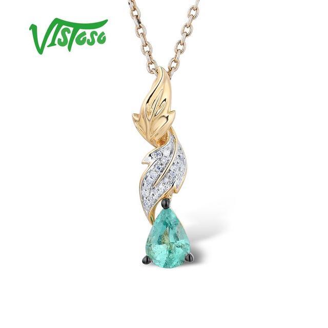 talla 40 cb28b 2f231 € 106.69 55% de DESCUENTO|VISTOSO colgantes de oro para mujeres auténtico  14 K 585 oro amarillo mágico esmeralda brillante diamante elegante COLLAR  ...