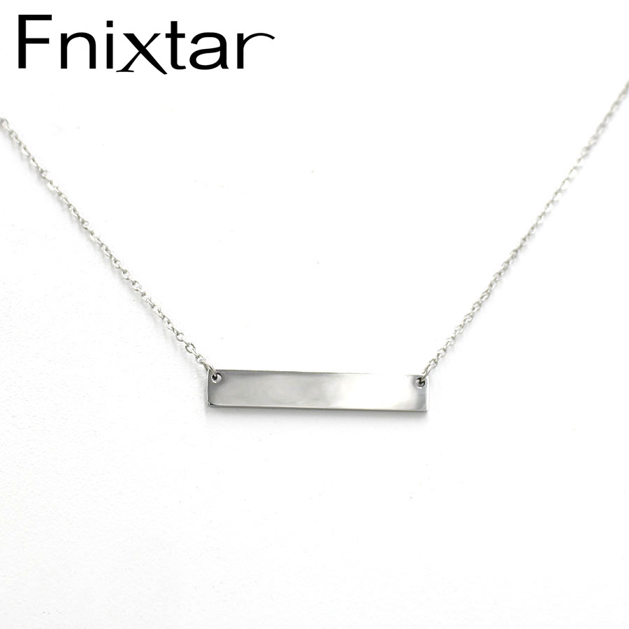 Fnixtar Stainless Steel Mirror Polish Blank Bar Pendant Necklace DIY Custom Name Plate Necklace Can Engrave