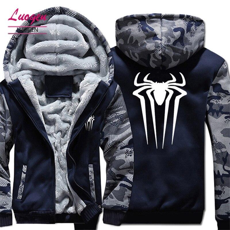 США Размеры человек паук для мужчин's толстовки, кофты Мода зима толстый флис на молнии мужской толстовки с капюшоном унисекс куртки