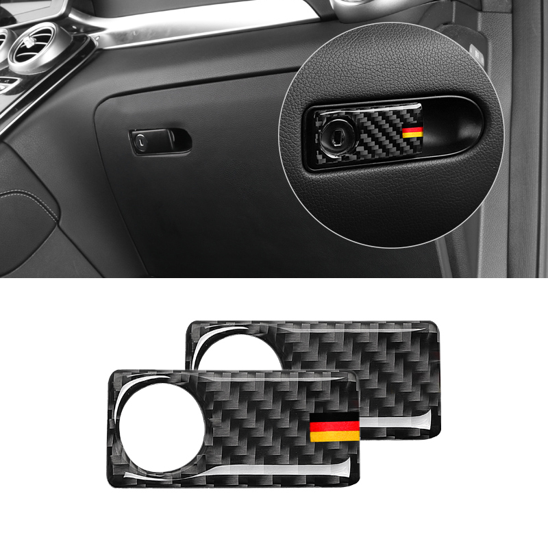 Image 2 - For Mercedes Benz C Class W205 C180 C200 C300 GLC260 Carbon Fiber Car Passenger Side Glove Storage Box Handle Bowl Cover-in Interior Mouldings from Automobiles & Motorcycles
