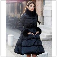 Белая куртка на гусином пуху для Для женщин Фокс зимнее пальто меховой воротник Для женщин Длинные куртки элегантный кисточкой юбка верхня