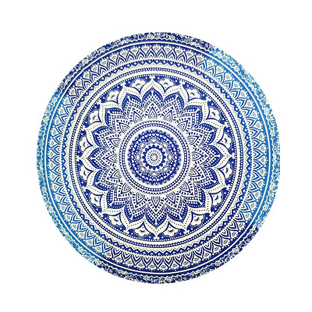 Round Beach Throw Tapestry Printing Picnic Mat Beach Blanket Tapestry 17 Colors