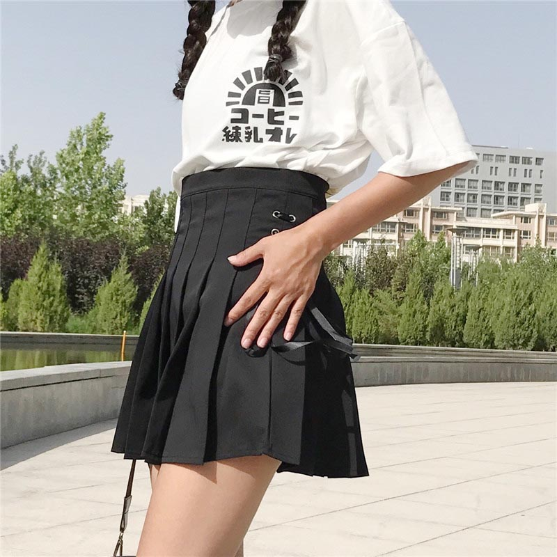 NiceMix 2019 Summer Skirt Women Lace Up High Waist Skirts Womens Preppy Style Pleated Mini Skirt Femme 21058 in Skirts from Women 39 s Clothing