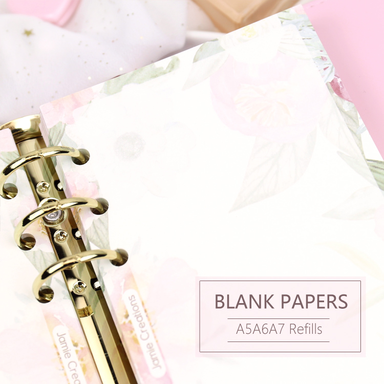 MyPretties Floral BLank Refill Papers 40 Sheets A5 A6 A7 Filler Papers For 6 Hole Binder Organizer Notebook Pages For Planner
