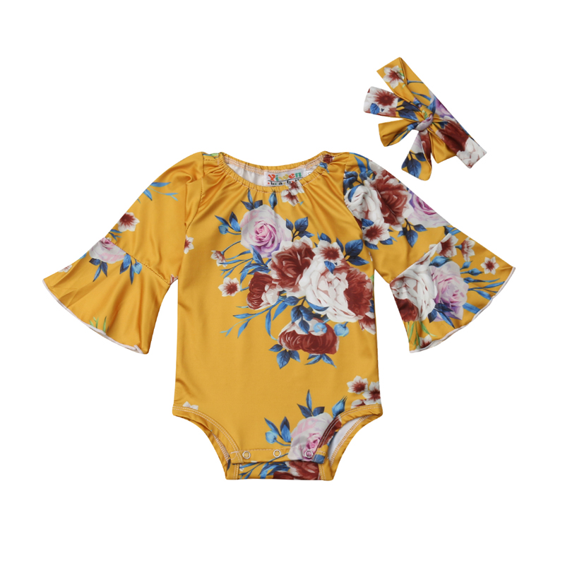 Focusnorm Infant Newborn Baby Girls Flare Long Sleeve Floral   Romper   One Piece Top+Headband Clothes