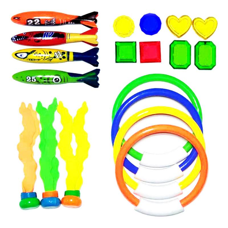 Swimming Pool Summer Water Diving Training Toy Set Throwing Toy Diving Game With 4 Diving Torpedoes 4 Rings 8 Strass 3 Seaweed