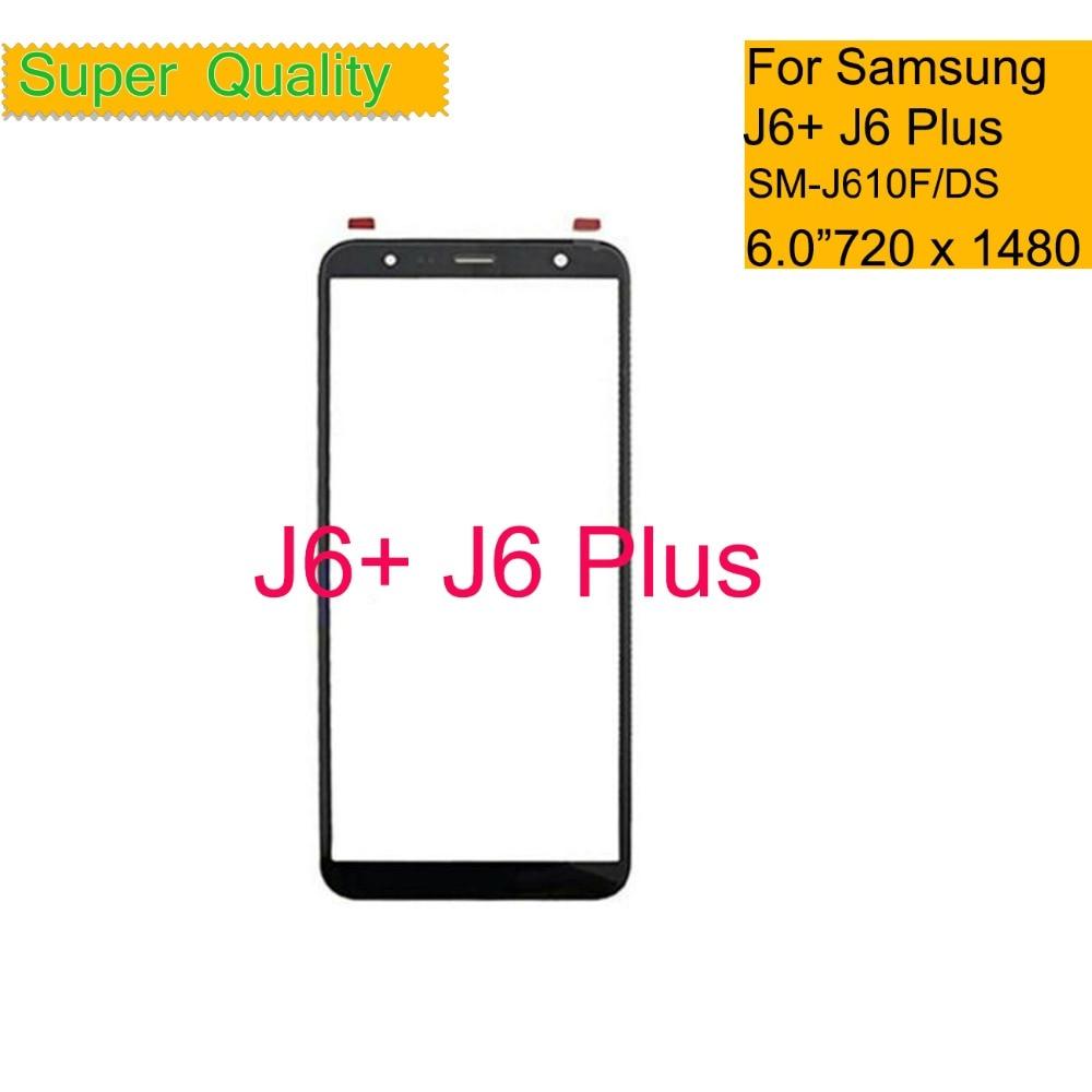10 pçs/lote 6.0 para samsung galaxy j6 plus 2018 j610 j610f SM  J610F/ds painel da tela de toque cd frente exterior lente vidro j6    j610 lentePainel de toque p/ celular