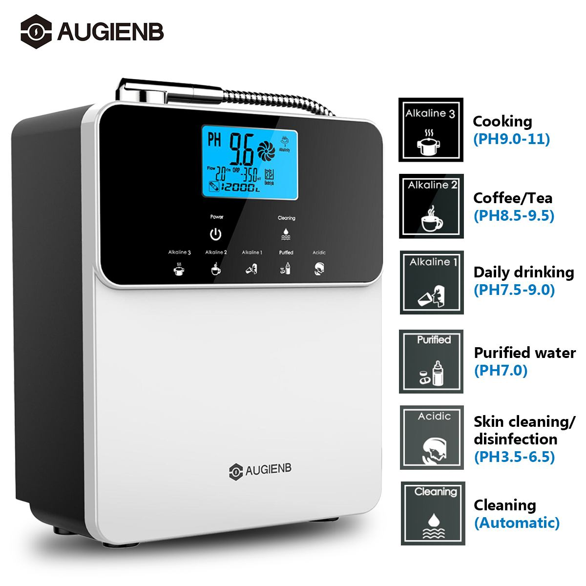 Augienb 12000L Water Ionizer Purifier Machine PH3.5-11 Alkaline Acid Adjust 5 Mode Settings Auto-Cleaning LCD Touch Water Filter