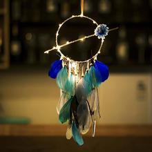 купить Indian Wind Feathers Home Pendant Car Hanging String Lights Home Decoration Creative Blue Dream Catcher Hanging Ornaments дешево