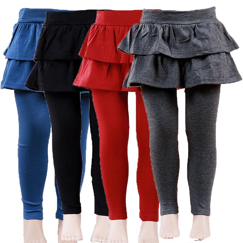 Теплые милые Многослойные леггинсы-кюлоты с гофрированной юбкой-пачкой для девочек, штаны на осень и зиму, От 2 до 8 лет