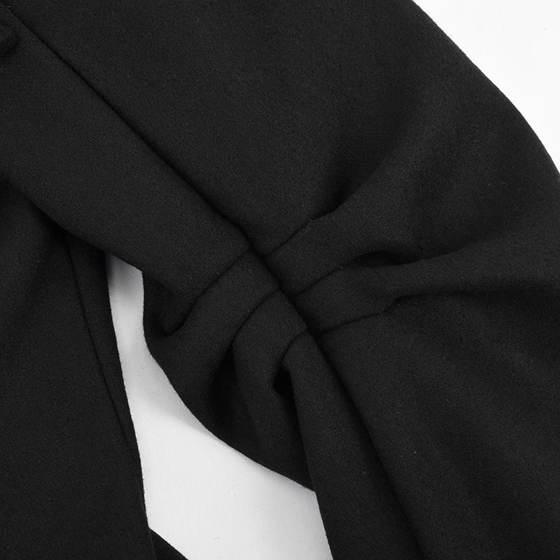 Asymétrique Ourlet Mode Long Poitrine face Laine Capuche Unique Hauts Manteau Gros Noir De Trench En Double Mince Black À hsQdtCr