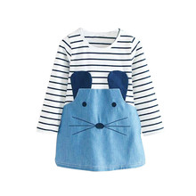 Summer  Striped Patchwork Character Girl Dresses Long Sleeve Cute Mouse Children Clothing Kids Girls Dress Denim Kids Clothes fhadst new striped patchwork character girl dresses long sleeve cute mouse children clothing kids girls dress denim kids clothes