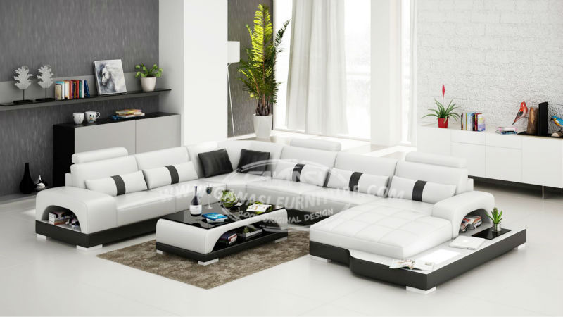 Classic Leather Sofa Living Room Set Modern