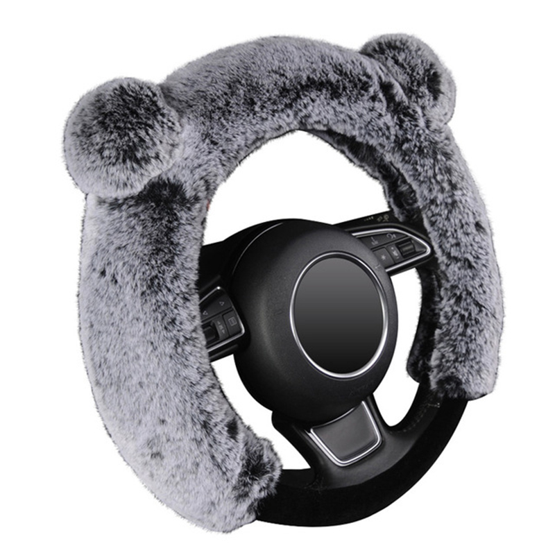 Winter Steering Wheel Cover Plush Fur Cute Warm Long Wool Plush Car Steering Wheel Covers Universal 37-38 Cm/15Inch