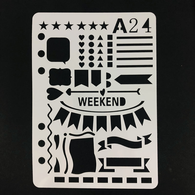 1 Pc Weekend Banner PET Layering Stencils For DIY Scrapbook Drawing Color Stamp To Do List Stencil Bullet Journal Supplies A5