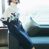 e69f55209f Spring Autumn Women Turtleneck Sweater Dress Long Sleeve Knitted Dress Warm  Midi Print Dress. Mulheres primavera Outono Vestido Camisola de Gola Alta  Manga ...