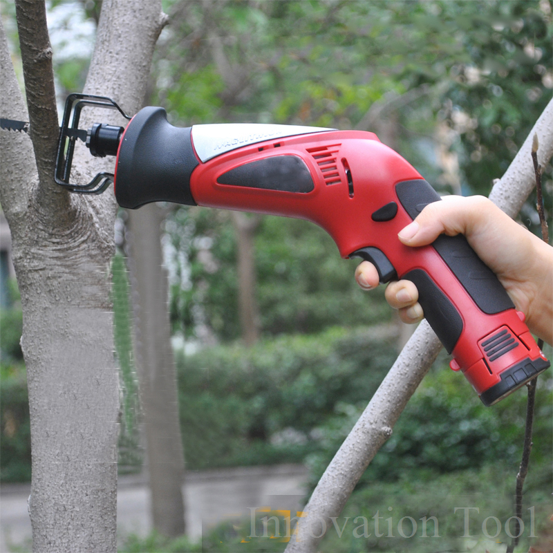 12V Portable Battery Reciprocating Saw Cordless Electric Saber Saw Rechargeable Power Hacksaw with Wood Metal Cutting