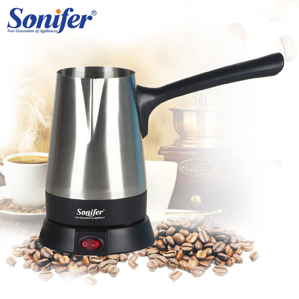 Stainless Steel Coffee Machine Turkey Coffee Maker 800W Electrical Coffee Pot Boiled Milk Coffee Kettle For Gift 220V Sonifer
