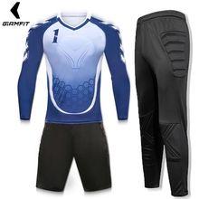 Conjunto Porteiros goleiro Jersey Homens Futebol Jerseys Survêtement  Football Kits de Treinamento Esponja Protetor de Mangas 9c14f7ea65f70