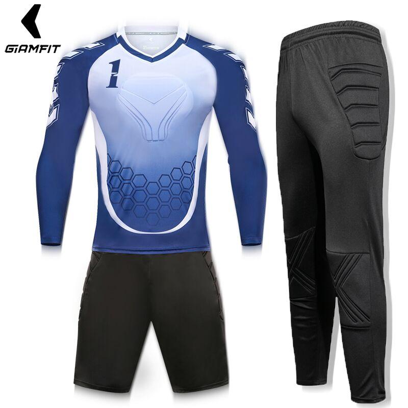Portero Jersey hombre Jersey DE FÚTBOL Camisetas de porteros Survetement  entrenamiento de fútbol Kits de esponja de manga larga chándal 55460c6ac05ff