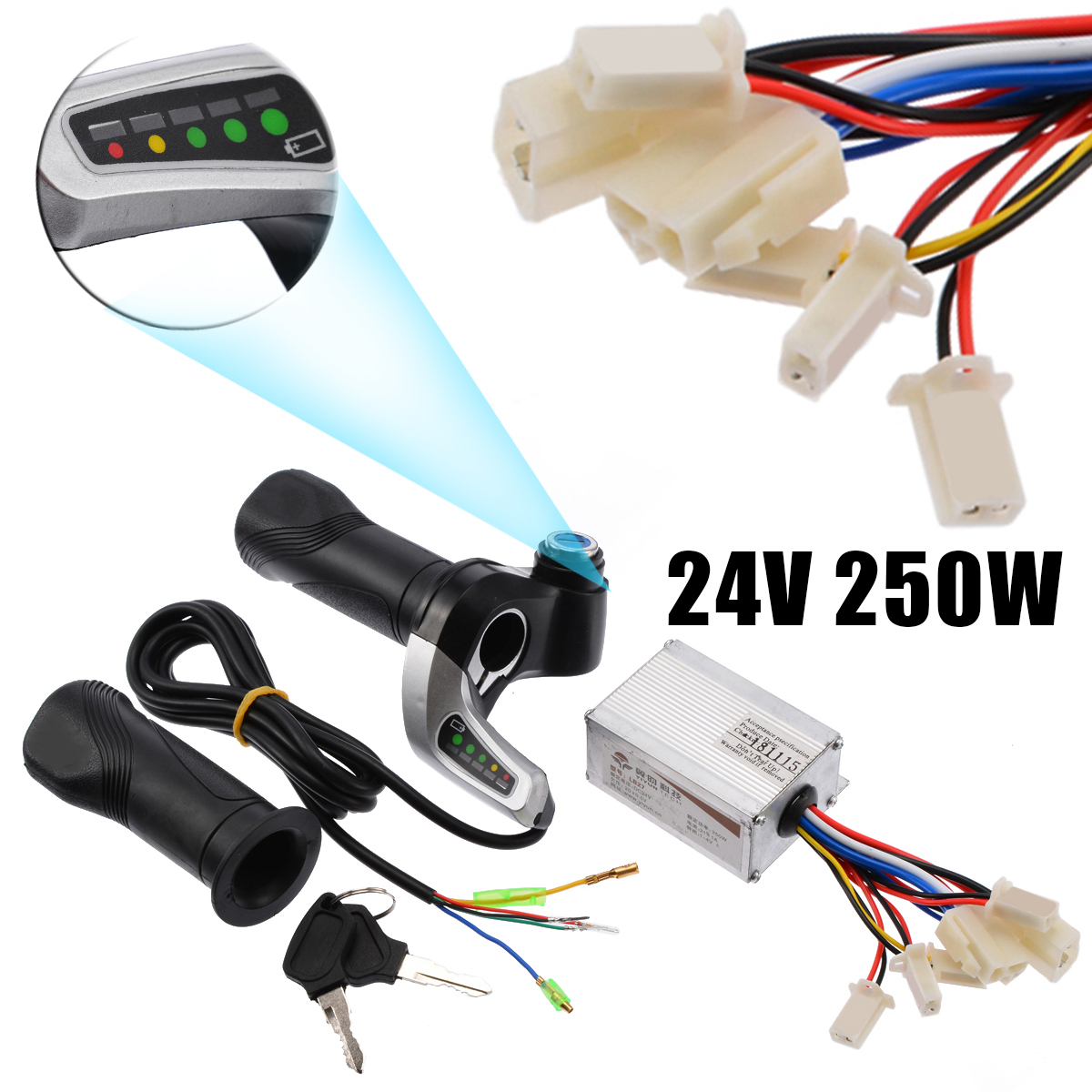 Controller Throttle 24V 250W Motorcycle Brush Speed Controller with Yellow Throttle Grip Kit