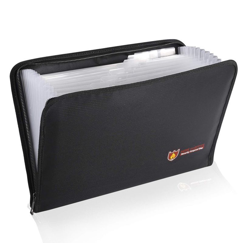 Fireproof Files Folder Accordion Document Bags 14.3x9.8 Inch A4 Size 12 Pockets Non-Itchy Silicone Coated Fire Resistant Safe