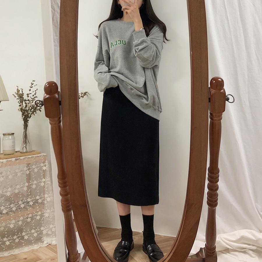 Однотонная черная коричневая Женская юбка до середины икры, винтажная весенне летняя прямая юбка, длинная Офисная Женская юбка с высокой талией, женские юбки