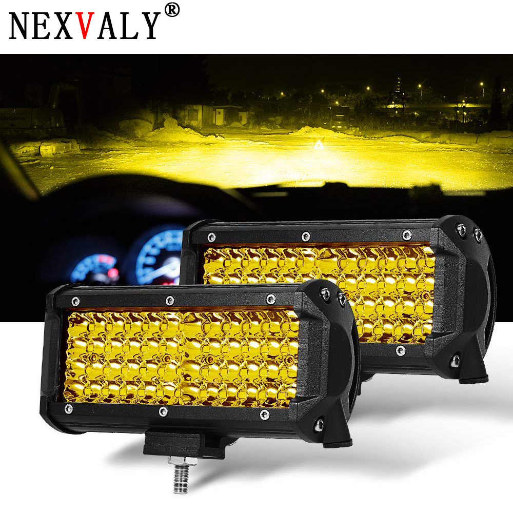 7 Inch 2pc Yellow Spot Beam Led Light Bar Pods Driving Fog