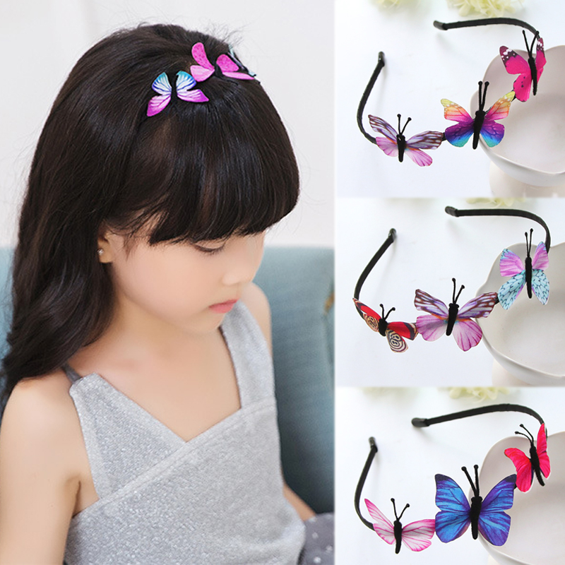 Hot Butterfly Girls Hair Band Kids Gifts Fairy Princess Headband 1PC Party Girls Hair Accessories Colorful Handmade Children