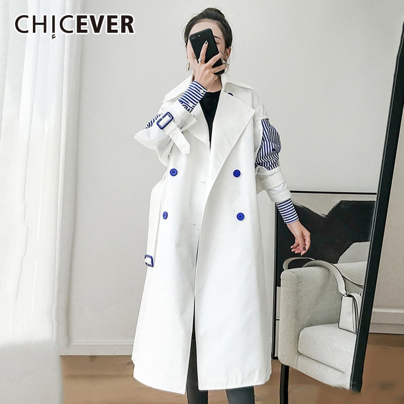CHICEVER Patchwork Striped   Trench   Coat For Women Windbreaker Lapel Slim 2019 Spring Autumn Windbreakers Korean Fashion Clothes