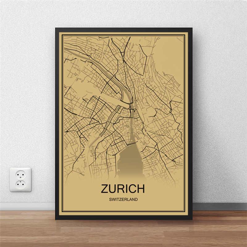 ZURICH Ретро картина карта мира ВИНТАЖНЫЙ ПЛАКАТ крафты бумажная художественная Настенная картина для гостиной кафе, бар, паб домашний Декор РЕСТОРАН