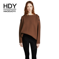 HDY Haoduoyi Monochromatic Individual Slit Buttons Adorn A Rib Sweater