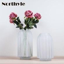 Europe white dull polish glass vase home decoration frosted wedding floor flowerpot terrarium
