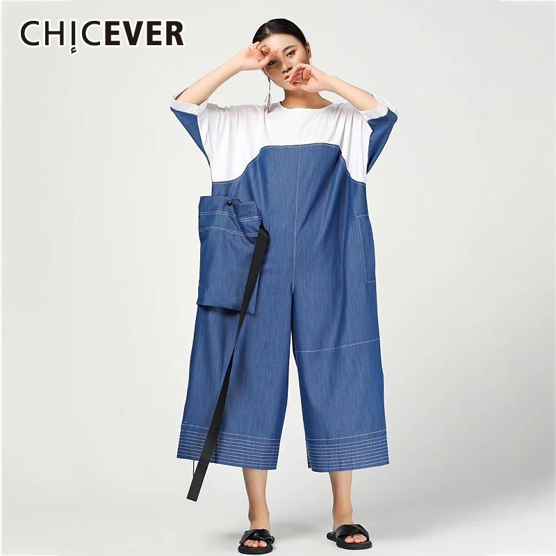 CHICEVER Summer Casual Hit Color Women Jumpsuit O Neck Long Sleeve Patchwork Big Pockets Loose Ankle
