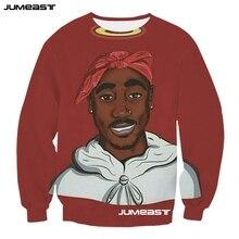 jumeast American Rapper Tupac Women/Men 3d Sweatshirts Popular Singger 2pac Long Sleeved Couples Outerwear Tops