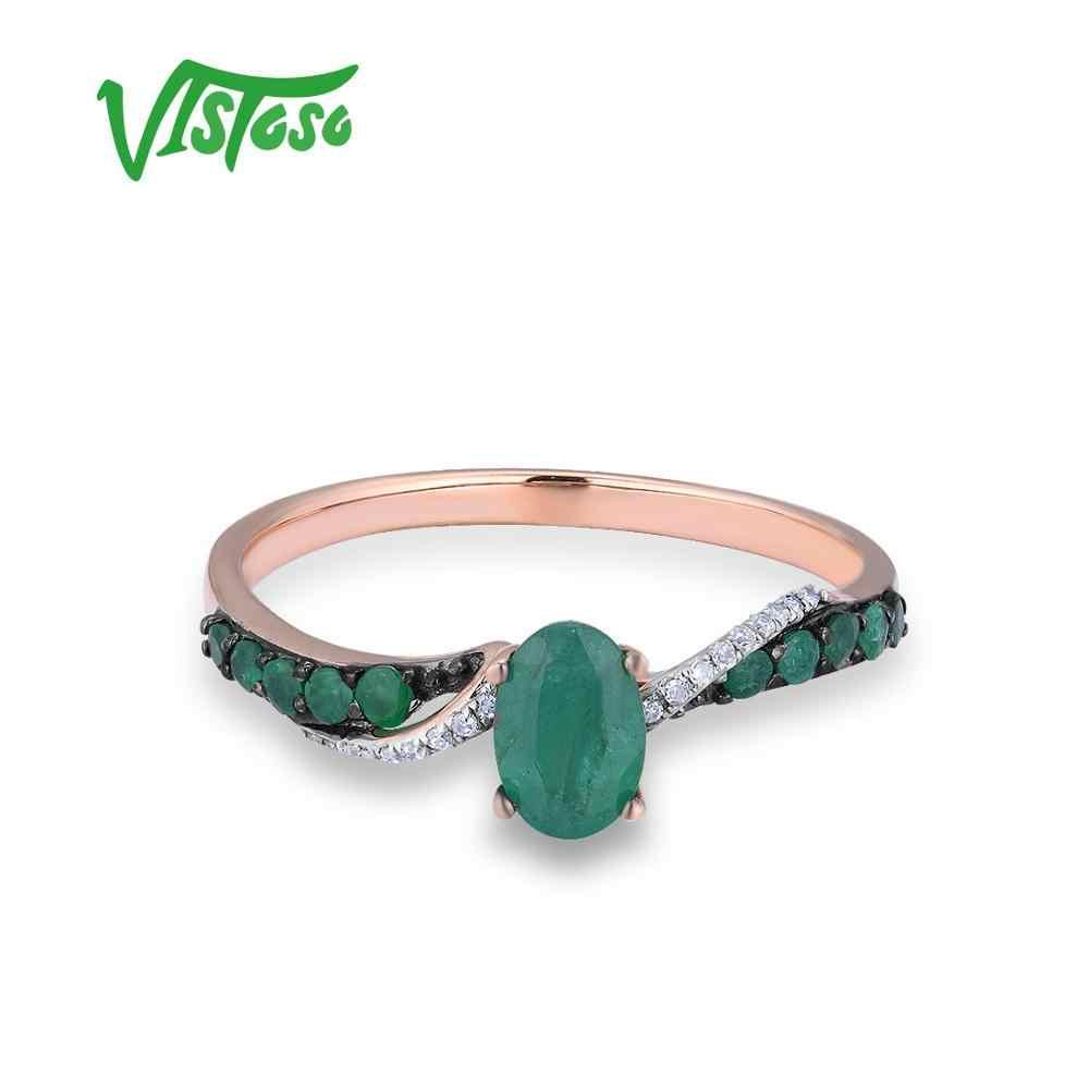 VISTOSO แหวนทองแท้ 14K 585 Rose Gold แหวนเพชรครบรอบมรกตแหวนแต่งงานเครื่องประดับ
