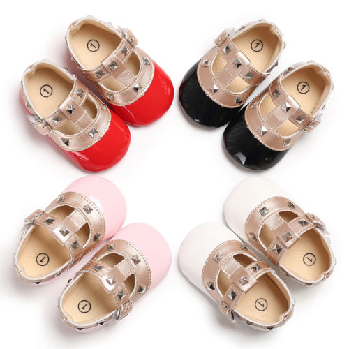 0-18M Newborn Infant Kid Baby Girls Bow Princess Shoes Soft Sole Anti-slip Crib Leather Buckle Strap Flat With Heel Baby Shoes